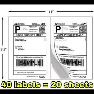 40 Shipping labels  20 sheets